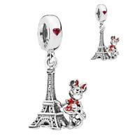 Bracelet Bead Charm Paris Eiffel Tower Pendant Silver Plated