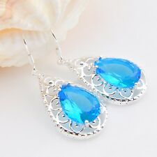 Flower Shaped Titanic Ocean Blue Topaz Gems Silver Woman Dangle Hook Earrings