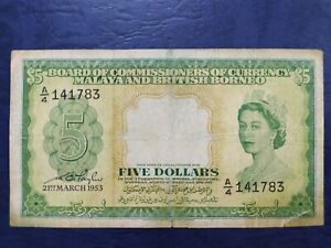 Malaya Queen $5 1953 (Low Prefix A/4)