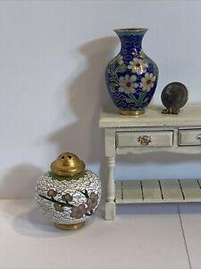 Vintage Artisan Floral Cloisonné Vases Dollhouse Miniatures 1:12
