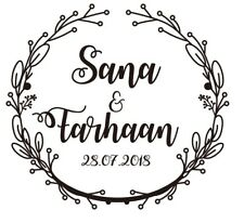 Save the Date Custom Wedding Stamp Monogram Wreath Self Inking Wedding Favors