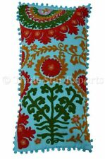 Indian Suzani Embroidered Cushion Cover Vintage Throw Pillow Case Cotton Pillows