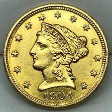 1904  2-1/2 GOLD DOLLAR  LIBERTY QUARTER EAGLE BU COIN. RARE.