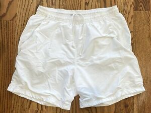 Adidas Mens Sz L Climalite White Tennis Shorts Drawstring