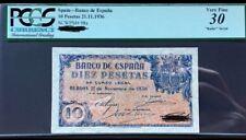 PCGS. 10 Pesetas Burgos 1936 Capicua Radar Muy Raro ÚNICO CONOCIDO