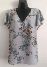 NEW Ex Wallis Grey Floral Print Flare Chiffon Sheer Summer Blouse Top Size 10-18