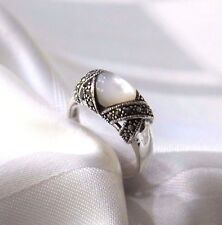 925 STERLING SILVER MARCASITE MOTHER OF PEARL  RING SIZE 10