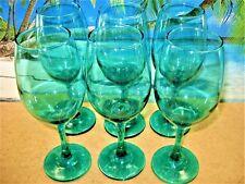 WINE GLASSES SET OF 6 TALLDEEP EMERAL GREEN GLASS STEMWARE