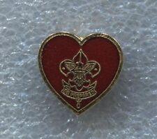 Boy Scout Mothers Life Rank Pin Red Guilloche Enamel in Heart Shape