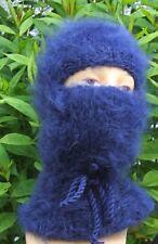 Mohair Balaclava Balaklava fuzzy thick langhaarig Schlüpfmütze blau Augenschlitz