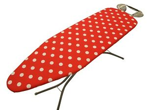 Spotty Red Tie-On ironing board cover,Easy Fit, Thick Foam Backing *3 sizes*