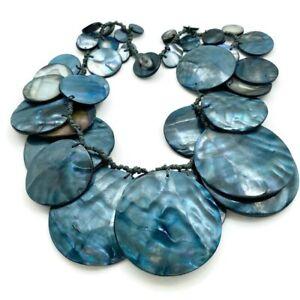 Vintage Boho Hippie Necklace Denim Blue Mother Of Pearl Coins Artisan Unique