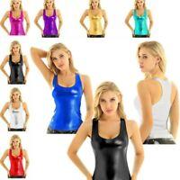 Women Sexy Shiny Metallic Tank Crop Top Vest Party Clubwear Bustier Blouse Shirt
