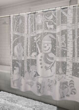Heritage Lace SHOWER CURTAIN Snowman 72x72 WHITE Made in USA