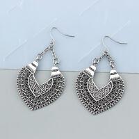 Tibetan Silver Statement Heart Earrings Ethnic Gypsy Jewellery Hippy Boho Dangle