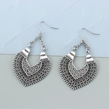 Tibetan Silver Statement Heart Earrings Ethnic Gypsy Jewellery Hippy Boho Dangle