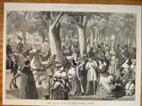 Original Old Antique Print Haupt Allee Prater Vienna Park People 1873 Victorian