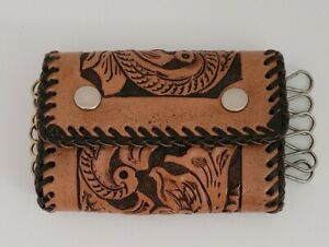 Vintage 1970s Handmade Hand Tooled Tri-fold Leather Western Key Case Ring