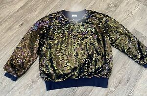 Next Girls Stunning Navy Blue Sparkly Sequin Embellished Jumper Top 10 Years ✨