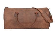 81stgeneration Men's Women's Large Genuine Leather Travel Sports Duffle Bag