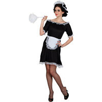 NEW Classic French Maid Naughty Sexy Ladies Fancy Dress Halloween Costume