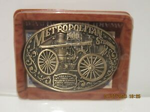 OK Firefighters Assoc 1900 METROPOLITAN STEAMER Fire Truck Brass Belt Buckle#505