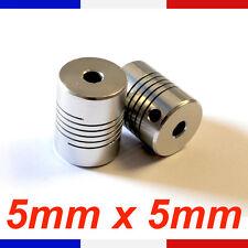 Coupleur 5x5mm Aluminium - coupler flexible Shaft 5 X 5 mm - Reprap Cnc France