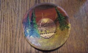 Vintage Folk Art - Hand Painted Metal Bowl - Mountain Cabin In the Woods Scene