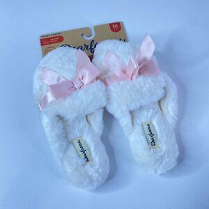 Dearfoams Womens White Pink Cozy Fluffy Fur Open Toe Comfort Slip On Slippers