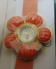 SUZANNE SOMERS CORAL FLOWER PENDANT WRIST WATCH - NEW