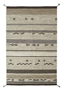 NATURAL Brown Beige ETHNIC Hand Woven PURE Wool Kilim Durrie Rug Runner S-L -40%