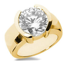 2.06 carat Round cut Diamond Engagement Solitaire Mens 14k Yellow Gold Ring Si1