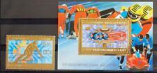 GUINEA 1983 OLYMPICS, XF MNH** GOLD Sheet + Set, Sports Bob Sledge, Skiing