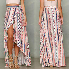 Donne boho Floreale Gonna Chiffon alta Maxi lunga Boemia spiaggia vestito Dress
