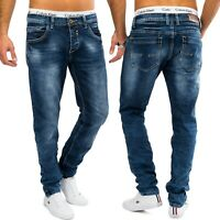 Herren Stone Washed Denim Jeans Blau AARON Slim Fit Hose Tapered Stretch