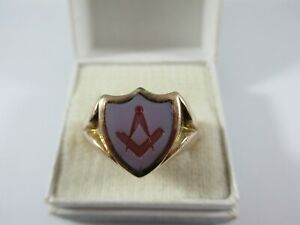 VERY RARE VICTORIAN 15ct GOLD CARVED CARNELIAN MASONIC RING UK SIZE R  11.3g