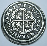 1717 Spanish Silver 1 Reales Antique 1700s Colonial Cross Pirate Treasure Coin