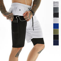 Mens 2 in 1 Running Shorts Training Workout Quick Dry with 4 Pocket & Towel Loop