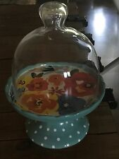 The Pioneer Woman Flea Market Mini Floral Cupcake Stand w Glass dome top