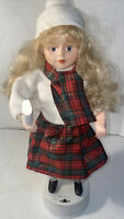 """Vintage Telco Christmas Caroler Animated Motionette Girl with Lighted Candle 16"""""""