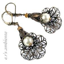 Ohrringe mit Glas-Perlen u. MESSING-Blüten, Bronze-Vintage-Look, Ohrhänger, 0389