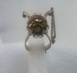 Vintage Glove Clip Holder Gold Tone Moonstone Cabochon Flower Filigree Style