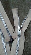 "VTG NOS Jacket Zipper 10x YKK JAPAN #8 Separating Metal Aluminum 26"" LIGHT BEIGE"