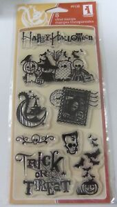 Inkadinkado ~ Happy Halloween Trick or Treaters Cat Rubber Stamp New D4