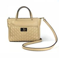 Karl Lagerfeld Paris Agnyess Tan Quilted Turnlock Satchel Crossbody NEW