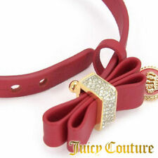 Juicy Couture Bracelet Leather Crystal Bow Coin Charm NEW