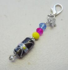 Lampwork Bead w Multi Crystal - Just for You Clip on Bag Charm or Zipper Pull