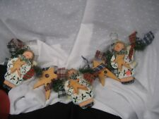 angel garland wooden stars plaid bows