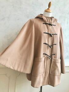 DOROTHY PERKINS Camel Tan Brown Duffle Cape Swing Hooded Autumn Winter Coat Med