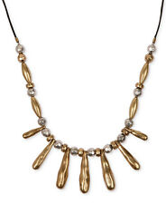 Lucky Brand 'Pyramid & Hearts' Two-Tone Hammered Bead Leather Long Necklace NEW